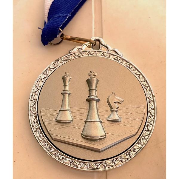 Μετάλλιο βραβεύσεως σκάκι με κορδέλα Deluxe
