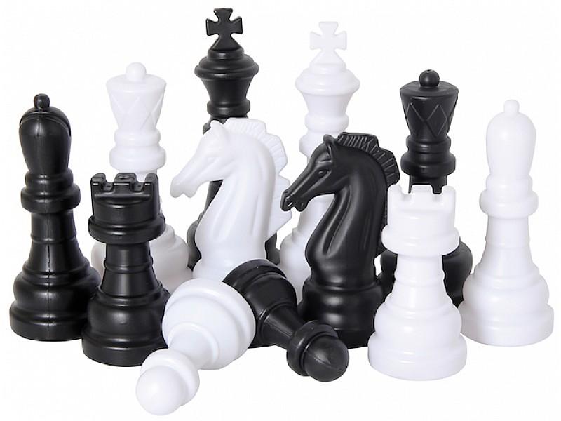 Σκάκι κήπου - Σκακιέρα 1.58 Χ 1.58 μαζί με ένα σετ πλαστικά πιόνια με ύψος βασιλιά 26 εκ