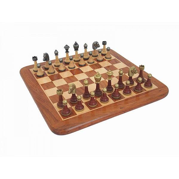 Italfama σέτ με glossy σκακιέρα και μεταλλικά πιόνια