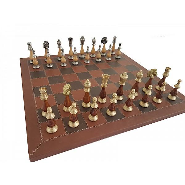Italfama σέτ με δερμάτινη σκακιέρα και μεταλλικά πιόνια