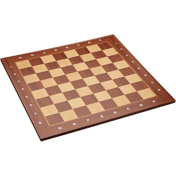 """Σκακιέρα ξύλινη μαόνι πλακέτα """"Asden"""" -  50 Χ 50 εκ. (με συντεταγμένες)"""