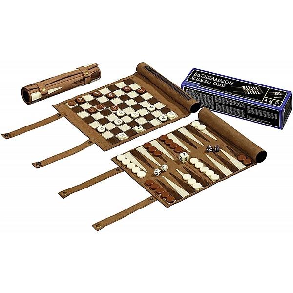 Σκάκι - τάβλι  ταξιδίου από δερματίνη (αποθήκευση σε ρολό)