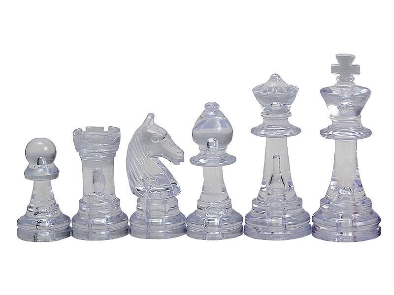Πλαστικά πιόνια  διάφανα , ύψος βασιλιά 9.5 εκ. & 2 πουγκιά αποθήκευσης