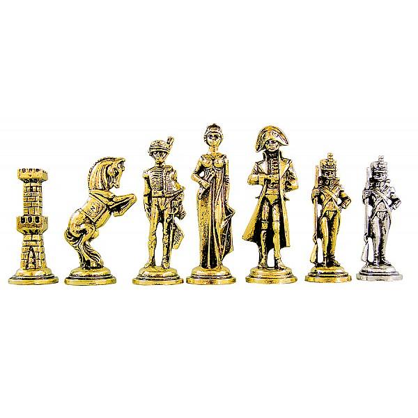 Ναπολέων  μεταλλικά πιόνια για σκάκι (σέτ) , ύψος βασιλιά 8.3 εκ.