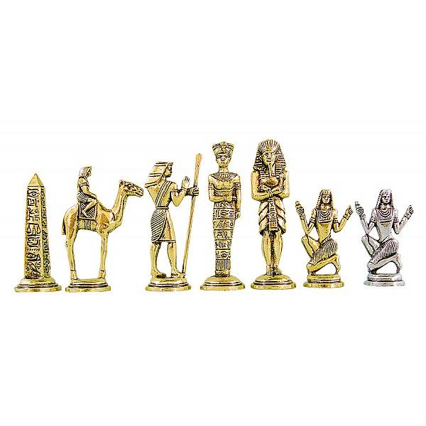 Αρχαία Αίγυπτος μεταλλικά πιόνια σκάκι (σέτ), ύψος βασιλιά 9 εκ.