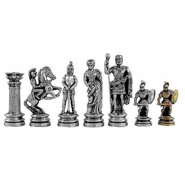Αρχαία ρώμη  μεταλλικά πιόνια σκάκι (σέτ) , ύψος βασιλιά 11 εκ.