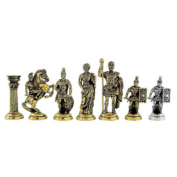 Ρωμαίοι μεταλλικά πιόνια σκάκι (σέτ) , ύψος βασιλιά 9.5 εκ.