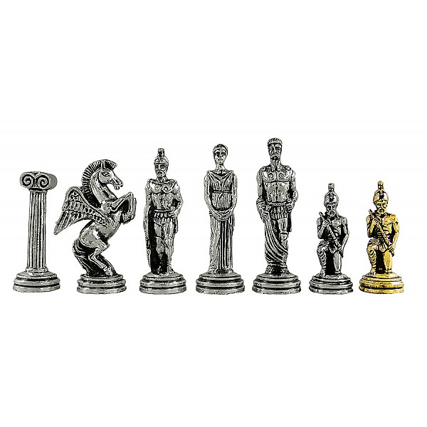 Αγαμέμνων μεταλλικά πιόνια σκάκι (σέτ) , ύψος βασιλιά 9.5 εκ.