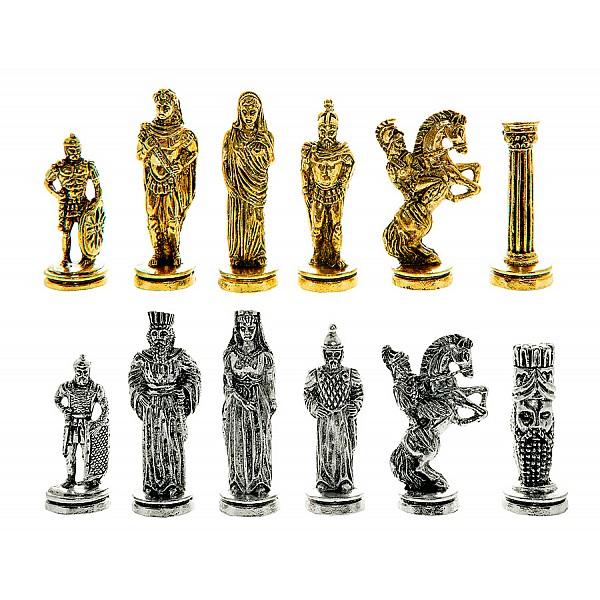 Μέγας Αλέξανδρος  μεταλλικά πιόνια σκάκι (σέτ) , ύψος βασιλιά 7 εκ.