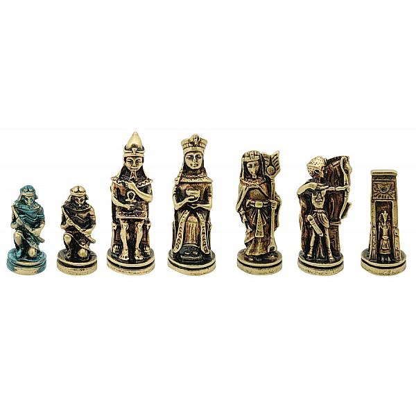 Αίγυπτος  μεταλλικά πιόνια σκάκι (σέτ) , ύψος βασιλιά 8.1 εκ.