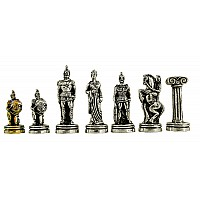 Τροία μεταλλικά πιόνια σκάκι (σέτ) , ύψος βασιλιά 7 εκ.