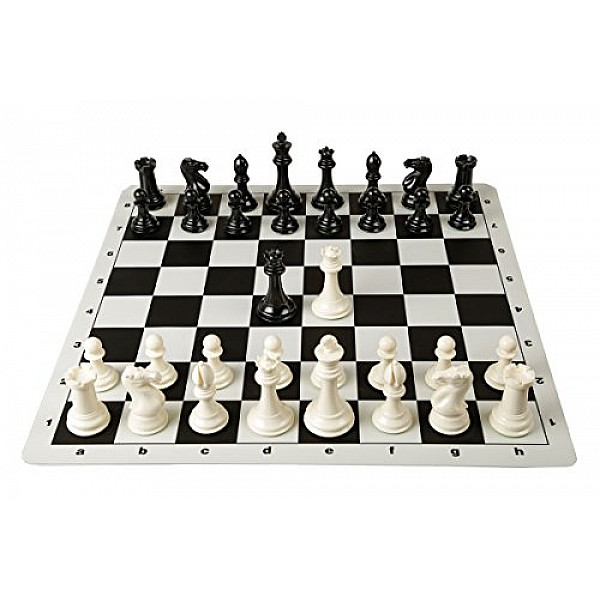 Σκακιέρα μαύρη σιλικόνης 50 Χ 50 εκ. & πιόνια σιλικόνης