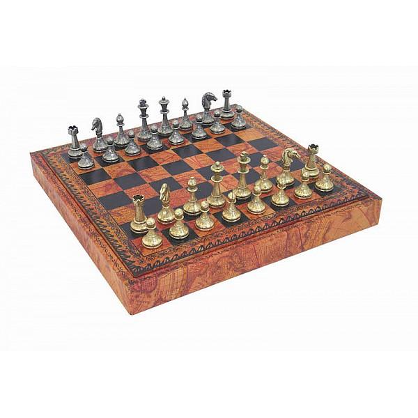 Italfama κουτί σέτ με  σκακιέρα και μεταλλικά πιόνια