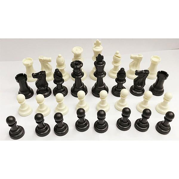 Πλαστικά πιόνια για σκάκι  9.5 εκ. (με τσόχα, και έξτρα βάρος) & 2 πουγκιά αποθήκευσης