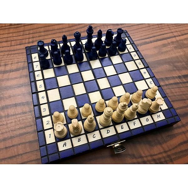 Ξύλινη σκακιέρα προπόνησης Rowan μπλέ  20 Χ 20 εκ. με ξύλινα πιόνια