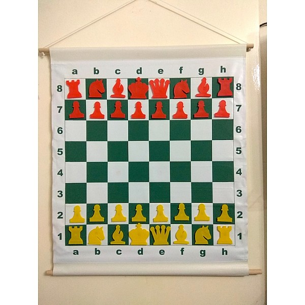 Εκπαιδευτική σκακιέρα μαγνητική 76 Χ 65 εκ.  (Κόκκινα - κίτρινα πιόνια)