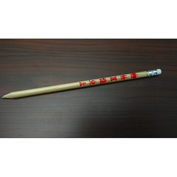 Ξύλινο μολύβι με γόμα και με σκακιστικά σχέδια τυπωμένα