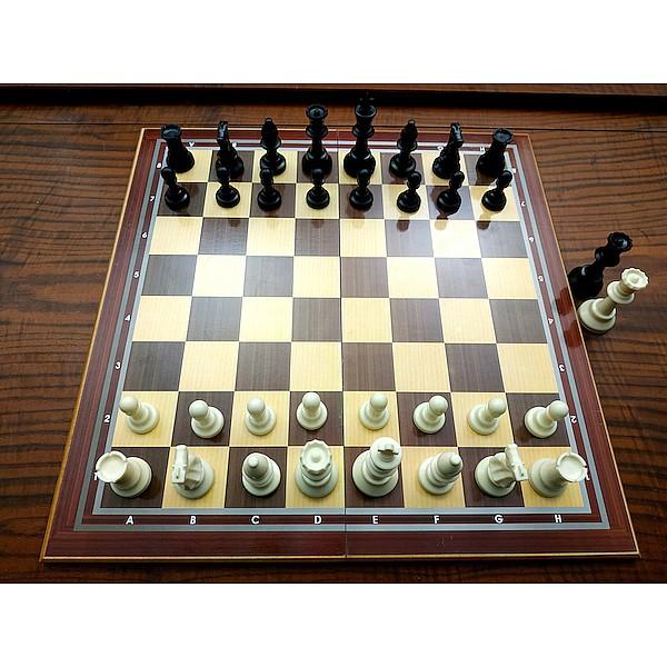 Ξύλινη σκακιέρα σπαστή 50 Χ 50 εκ. μαζί με σέτ πλαστικά πιόνια με βάρος , τσόχα στην βάση και με ύψος βασιλιά 9.5 εκ.