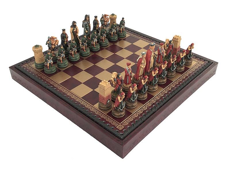 Italfama ιστορικό σέτ με θέμα Camelot και σκακιέρα πλακέτα με θήκη αποθήκευσης