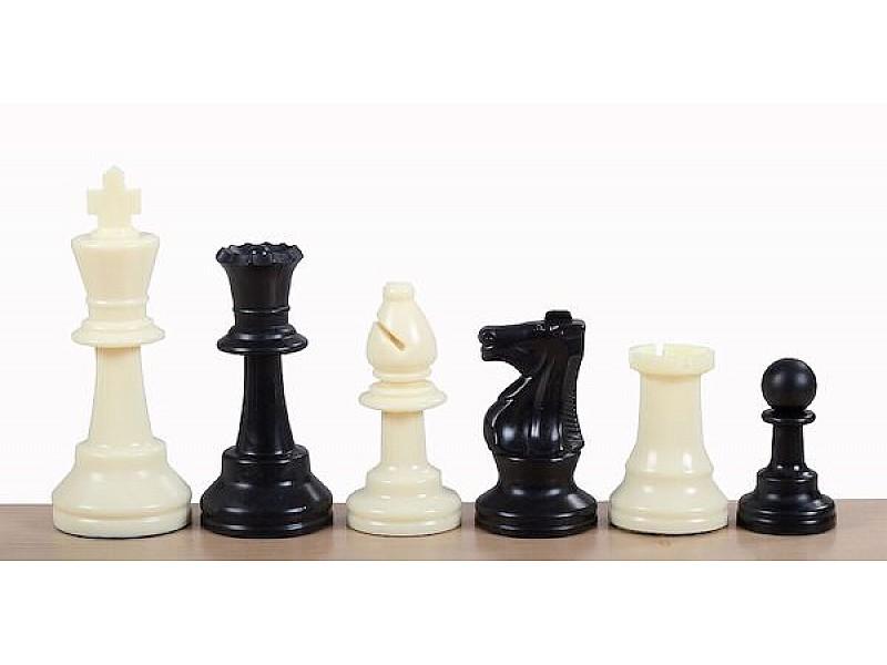 Σκακιέρα τυπώμένη 50 Χ 50 εκ + πιόνια πλαστικά με ύψος βασιλιά 9.5 με βάρος και 2 πουγκιά φύλαξης