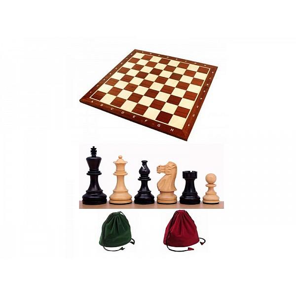 Σκακιέρα ξύλινη 50 Χ 50 εκ. & Ξύλινα πιόνια American Staunton Deluxe με ύψος βασιλιά 9.5 εκ. & πουγκί φύλαξης