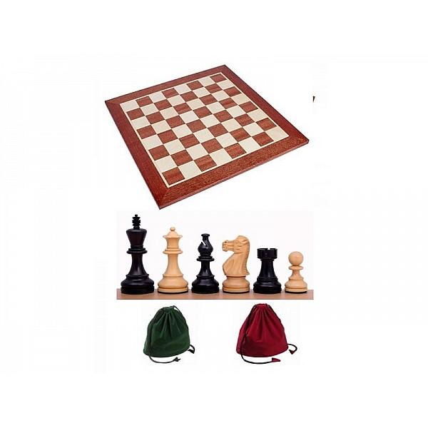 Σκακιέρα ξύλινη 50 Χ 50 εκ. χωρίς συντεταγμένες & Ξύλινα πιόνια American staunton με ύψος βασιλιά 9.5 εκ.  deluxe & πουγκί φύλαξης