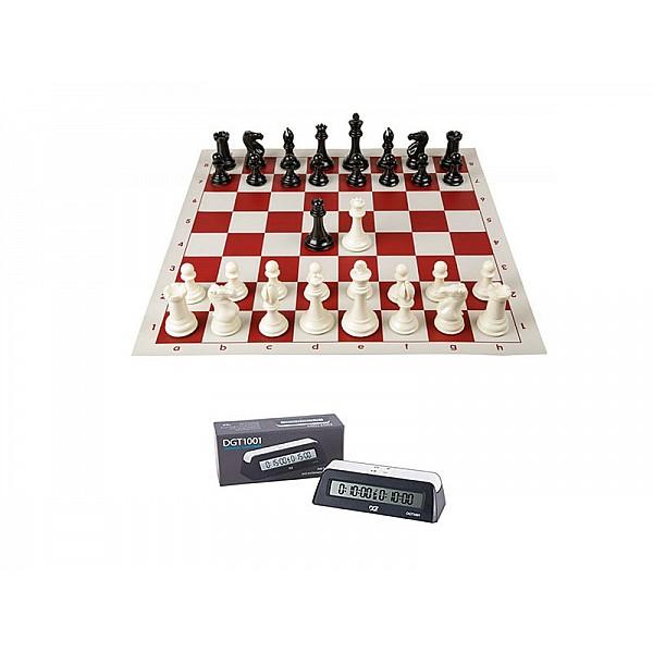 Σκακιέρα βινιλίου κόκκινη 50 Χ 50 +πλαστικά πιόνια (με βάρος) - υψος βασιλιά 9.5 εκ. + Χρονόμετρο DGT 1001