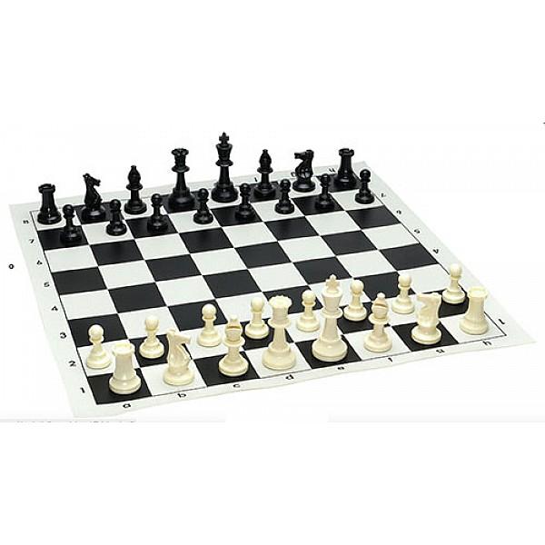 Σκακιέρα βινυλίου μαύρη  50 Χ 50 μαζί με πλαστικά πιόνια (με βάρος)  με ύψος βασιλιά 9.5 εκ.