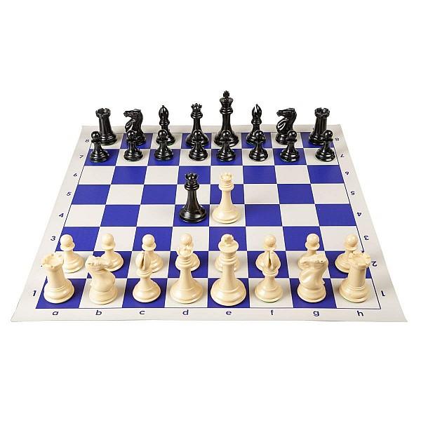 Σκακιέρα βινυλίου μπλέ 50 Χ 50 μαζί με πλαστικά πιόνια (με  βάρος) με ύψος βασιλιά 9.5 εκ.