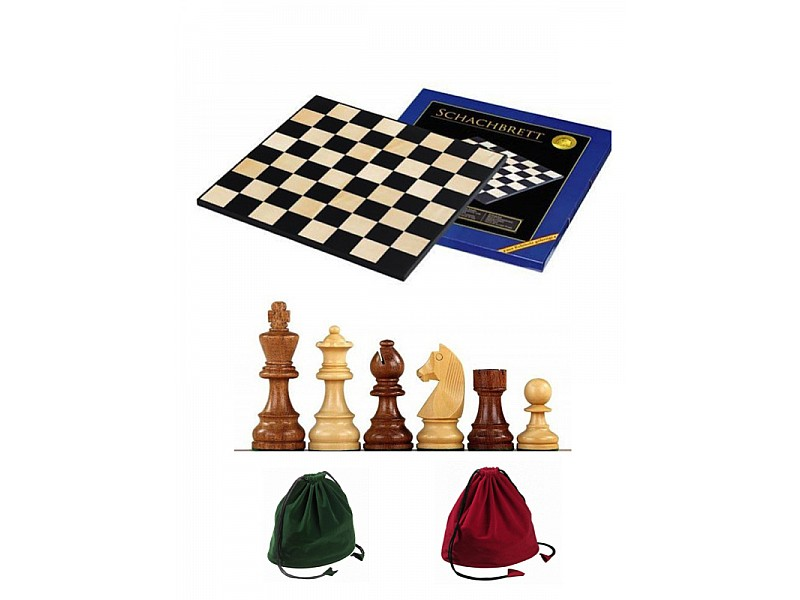 Σκακιέρα ξύλινη 45 Χ 45 εκ. & Ξύλινα πιόνια German staunton & πουγκί φύλαξης