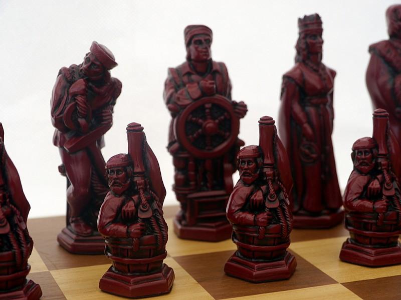 Χριστόφορος Κολόμβος εκστρατεία,  θεματικά πιόνια  (Χρώμα: κόκκινο  - εκρού)