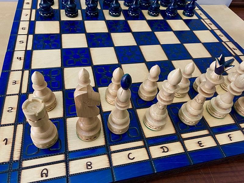 Σκακιέρα Rasmunsen μπλέ , 53 Χ 53 εκ. και ύψος βασιλιά 12 εκ.