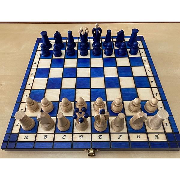 Σκάκι ταξιδίου ξύλινο μπλέ deluxe
