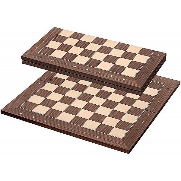 Σκακιέρα ξύλινη σε σπαστή πλακέτα αγωνιστική  καρυδιά με συντεταγμένες