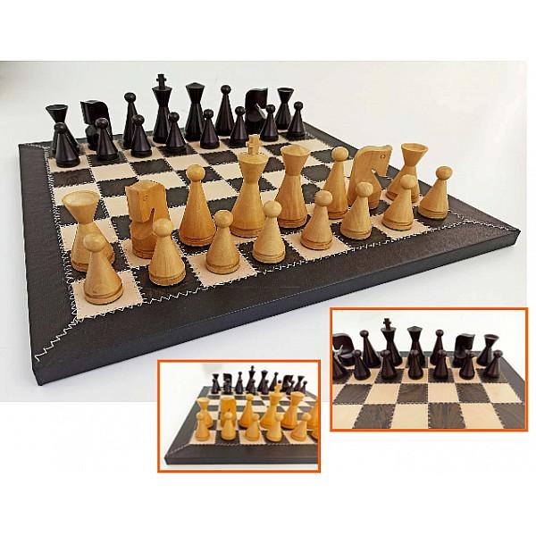 Δερμάτινη μαύρη σκακιέρα 42 Χ 42 εκ με ξύλινα πιόνια