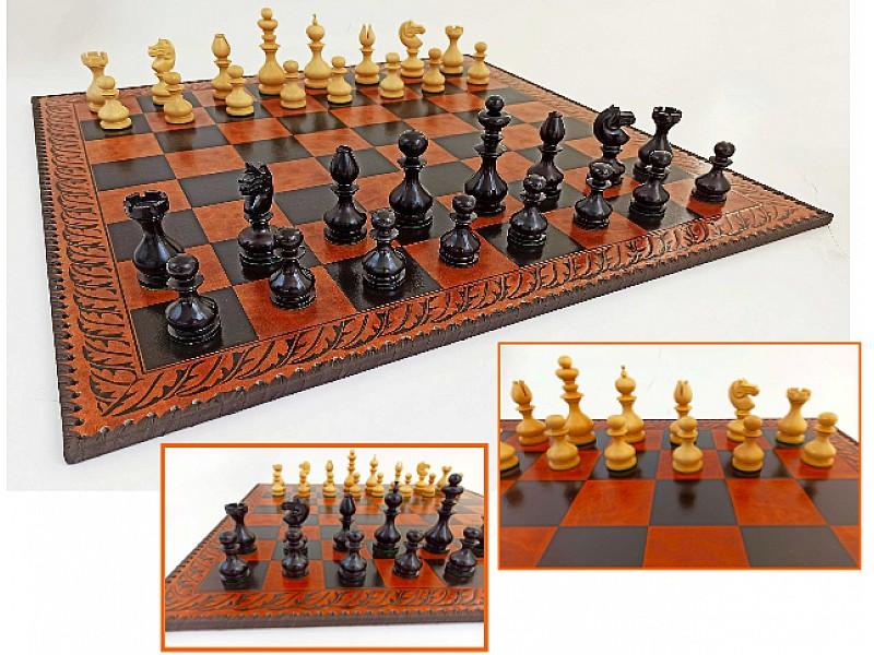 Δερμάτινη καφέ σκακιέρα 58 Χ 58 εκ με ξύλινα πιόνια