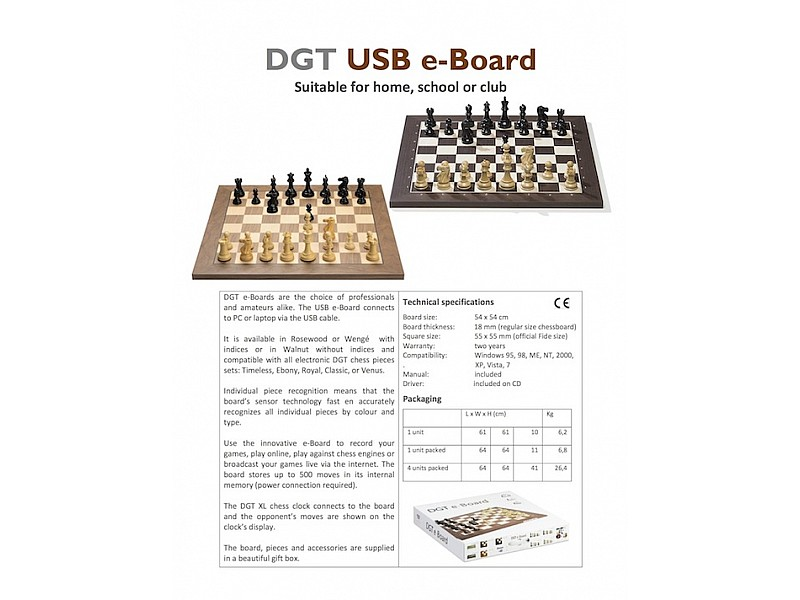 DGT καρυδιά bluetooth  e-board + ξύλινα πιόνια timeless
