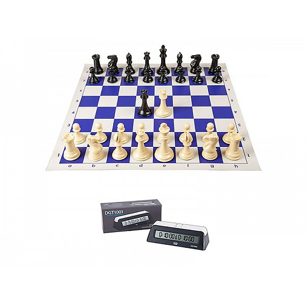 Σκακιέρα βινυλίου μπλέ 50 Χ 50 μαζί με πλαστικά πιόνια (με  βάρος) με ύψος βασιλιά 9.5 εκ. + χρόνομετρο DGT 1001