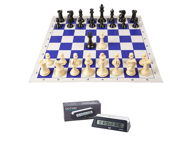Σκακιέρα βινιλίου μπλέ 50 Χ 50 μαζί με πλαστικά πιόνια (χωρίς  βάρος) με ύψος βασιλιά 9.5 εκ. + χρόνομετρο DGT 1001