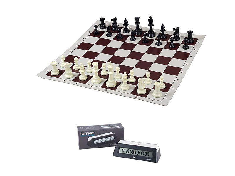 Σκακιέρα βινυλίου καφέ  50 Χ 50 μαζί με πλαστικά πιόνια (χωρίς βάρος) με ύψος βασιλιά 9.5 εκ. + χρονόμετρο DGT 1001