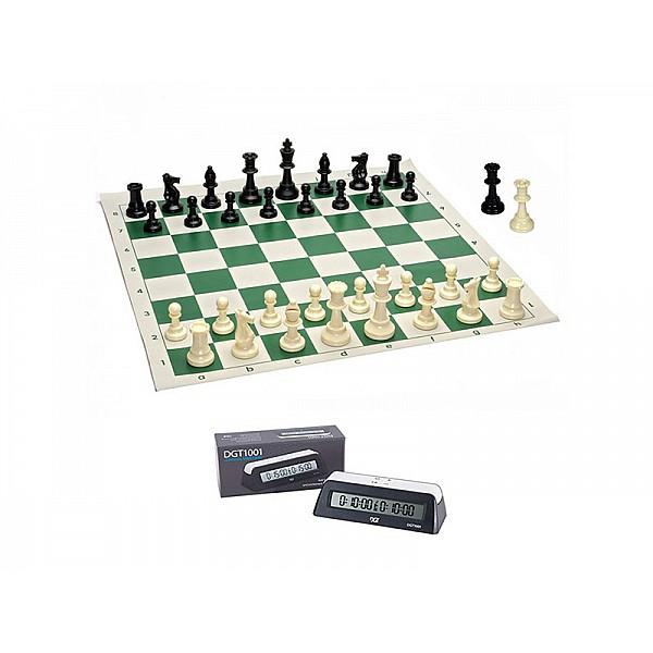 Σκακιέρα βινιλίου πράσινη 50 Χ 50  μαζί με πλαστικά πιόνια (με βάρος) με ύψος βασιλιά 9.5 εκ.+  Χρονόμετρο DGT 1001