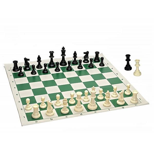 Σκακιέρα βινυλίου πράσινη 50 Χ 50  μαζί με πλαστικά πιόνια (με βάρος) με ύψος βασιλιά 9.5 εκ.