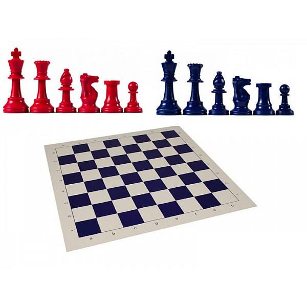 Χρωματιστό πλαστικό σέτ με σκακιέρα βινιλίου (μπλε χρώμα)