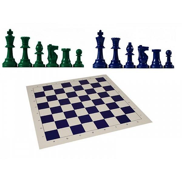 Χρωματιστό πλαστικό σέτ με σκακιέρα βινιλίου ( μπλέ χρώμα)