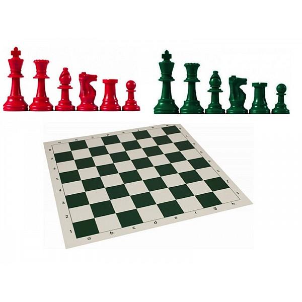 Χρωματιστό πλαστικό σέτ με σκακιέρα βινιλίου (πράσινο χρώμα)