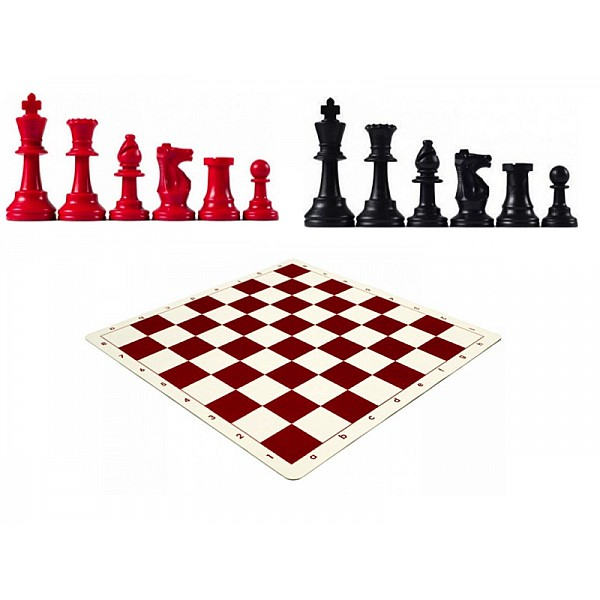 Χρωματιστό πλαστικό σέτ με σκακιέρα βινιλίου (κόκκινο χρώμα)