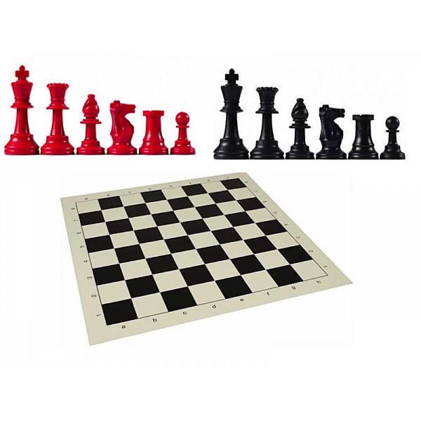 Χρωματιστό πλαστικό σέτ με σκακιέρα βινιλίου (μαύρο χρώμα)