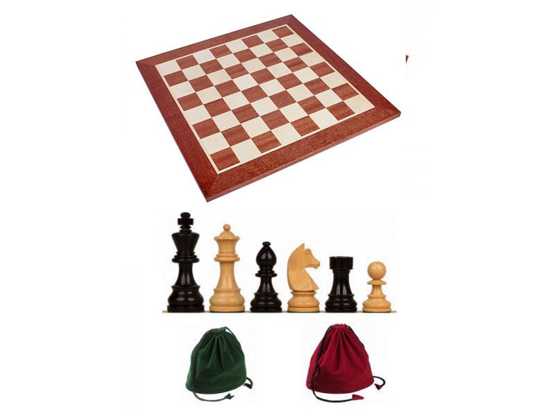 Σκακιέρα ξύλινη 50 Χ 50 εκ. χωρίς συντεταγμένες  & Ξύλινα πιόνια German staunton & πουγκί φύλαξης