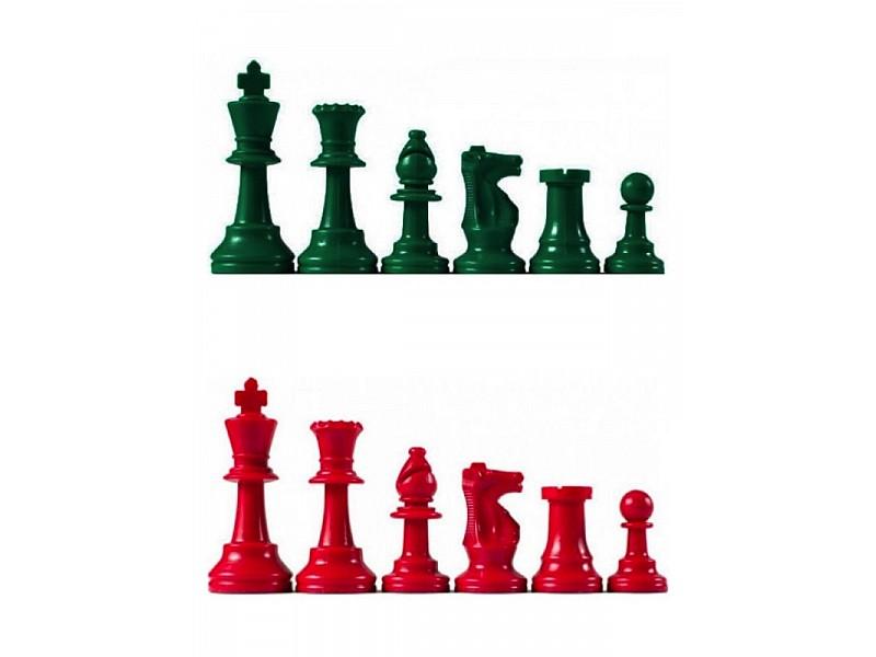 Χρωματιστά πλαστικά πιόνια κόκκινα - πράσινα Staunton , με ύψος βασιλιά 9.5 εκ.  (με τσόχα και διπλές βασίλισσες)