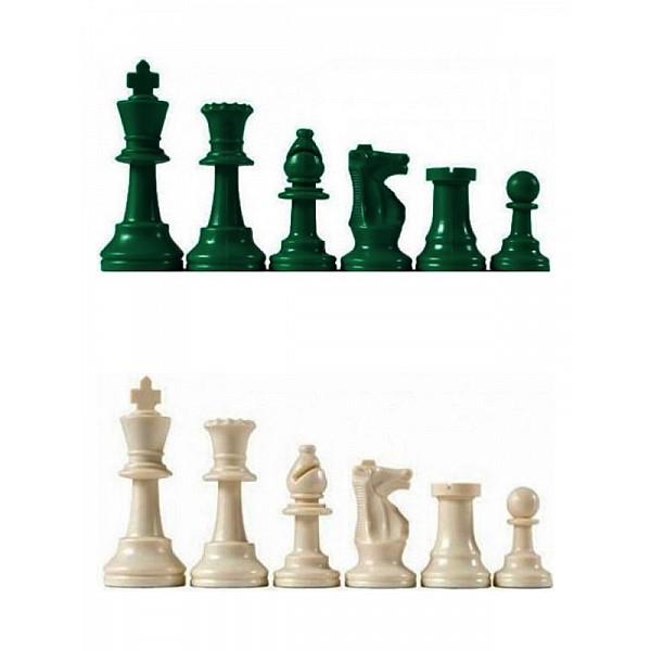 Χρωματιστά πλαστικά πιόνια πράσινα - λευκά Staunton , με ύψος βασιλιά 9.5 εκ.  (με τσόχα και διπλές βασίλισσες)